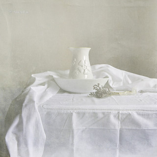 Still life with white pottery and lavender