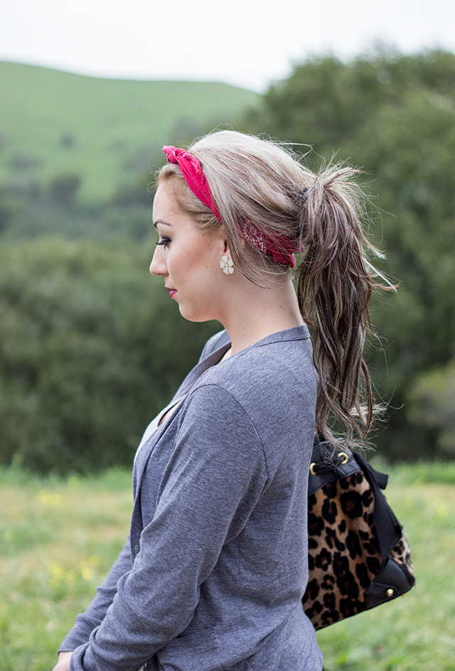ash blonde hair with highlights, red bandana, grey cardigan, leopard print purse