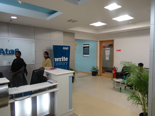Reception area of Atos India SAP Education Center in Bangalore by Atos India SAP Education