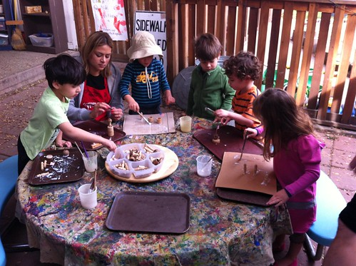 Kids enjoying Bernie's old woodworking stuff