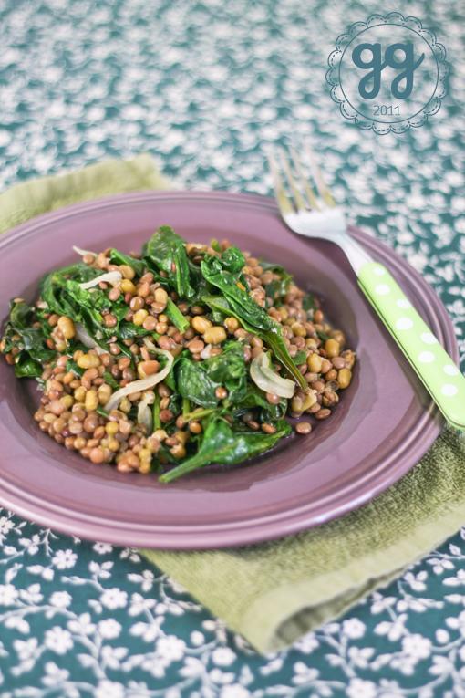 insalata tiepida di lenticchie e spinaci