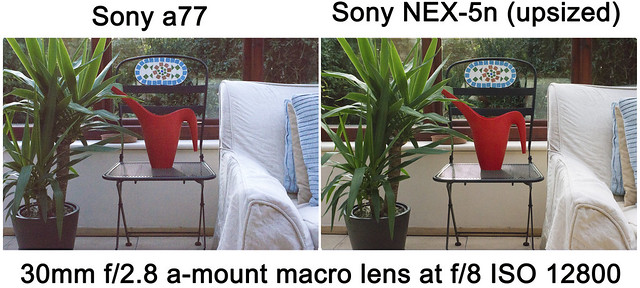 Noise comparison test between Sony a77 and Sony NEX-5n ISO12800