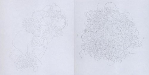 two line drawings of what looks like clumps of hair