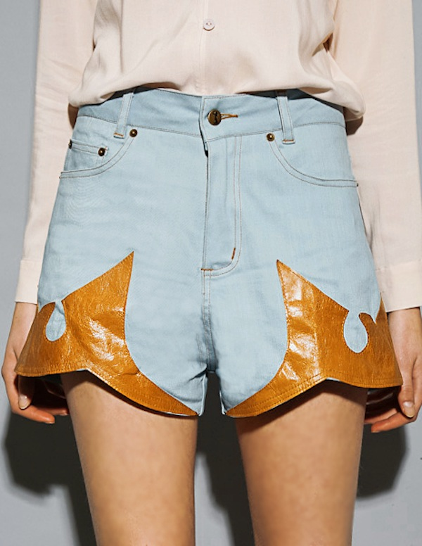 Stolen Girlfriends Club western leather denim shorts 3