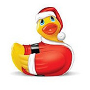 rubber duckie in a santa hat