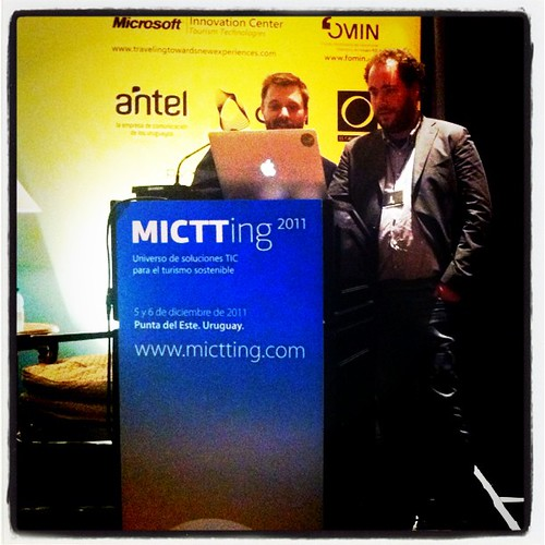 Eric and Javier presenting on open source mapping tools at the MICTTing conference in Uruguay