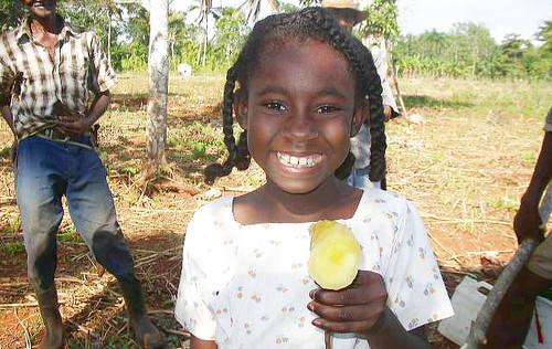Girl enjoys yellow cassava. Photo: CIAT