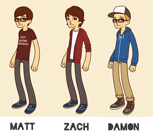 hipster cartoon boys