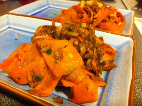 carottes à l'échalote et vinaigre balsamique