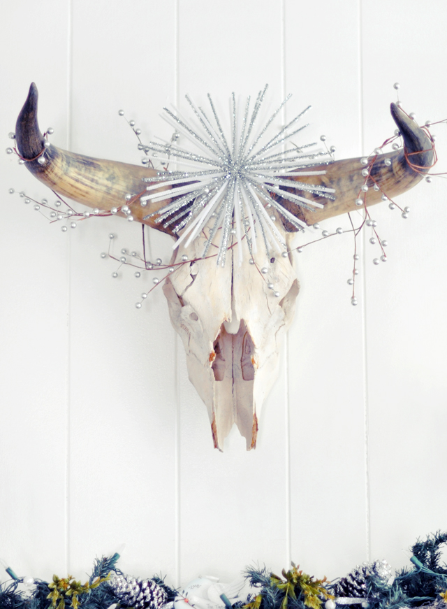 decorated cow skull head- holiday decor