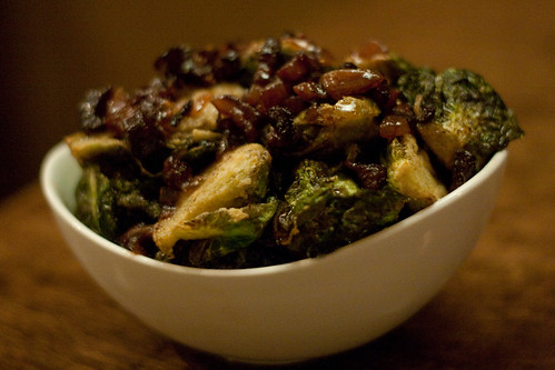 Crispy Brussels Sprouts with Black Pepper Bacon Jam at Root 174