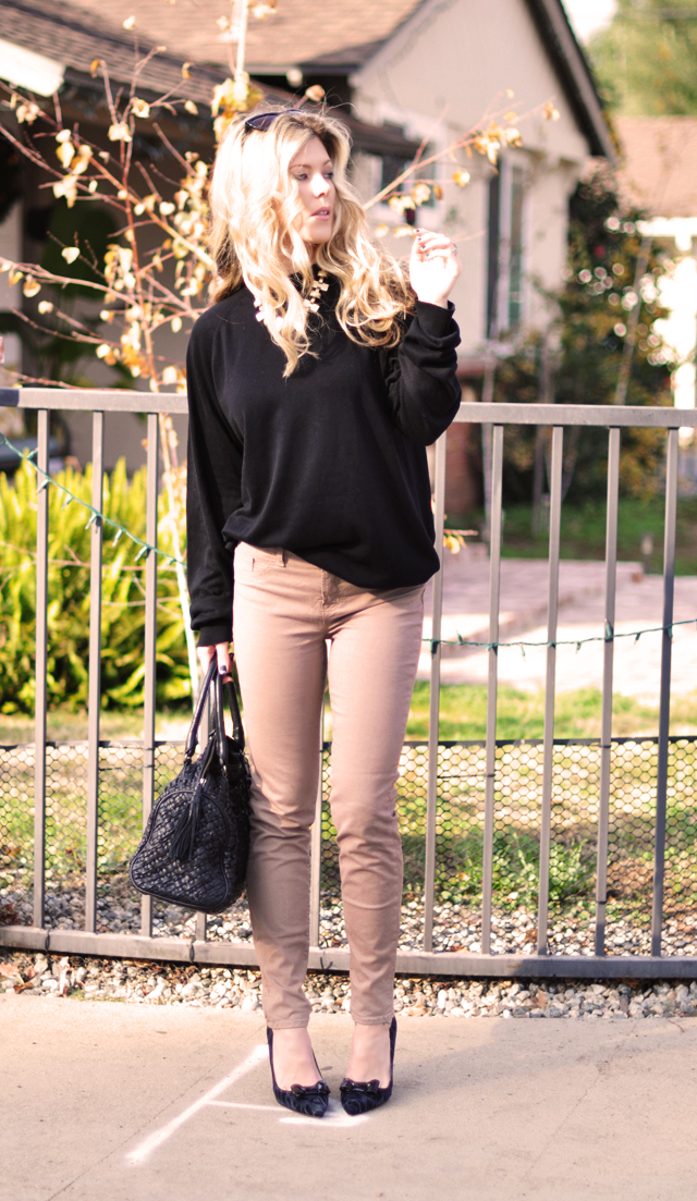 taupe j brand jeans - black sweater-bow pumps-waved curled hair