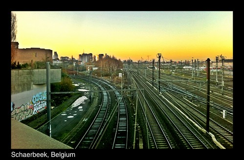 brussels sunrise dawn tracks railway schaarbeek schaerbeek iphoneography