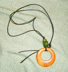 Pendant with Wood, Copper, and Green Glass by randubnick