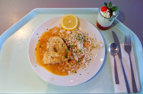 Königskorallenfisch in Krabbensauce / king coral fish in shrimps sauce