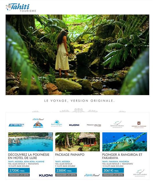 """Campagne Tahiti et ses îles - mini site """"Tahiti Tourisme"""""""