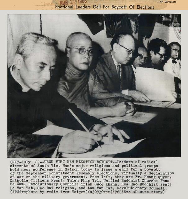 1966 Lãnh tụ các phe phái họp báo kêu gọi tẩy chay bầu cử