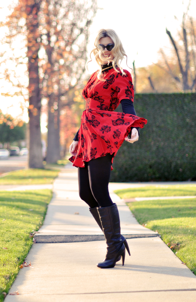 red dress  over  turtleneck  and  tights-cat eye sunglasses-boots