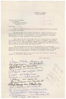 Petition from Baltimore City to Senator Millard Tydings Opposing Stock Exchange Regulation, 03/29/1934