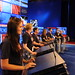 Saint Anselm students stand in for rehearsals on the CNN debate stage