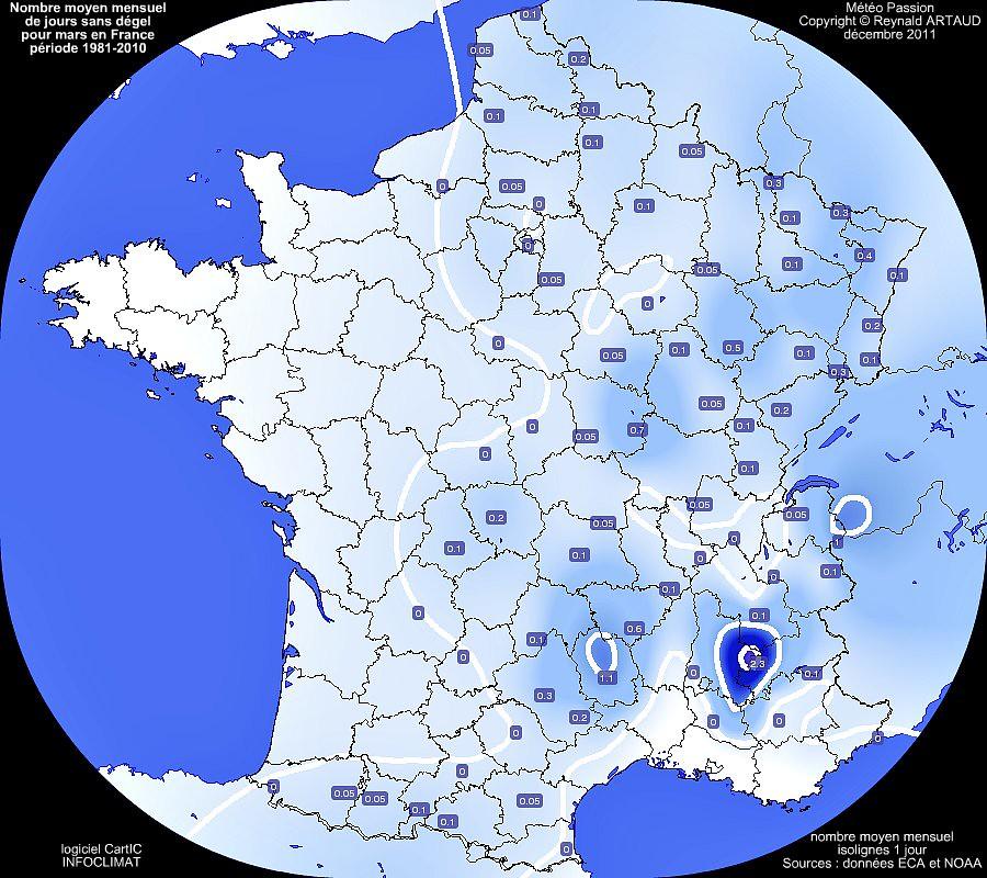 nombre moyen mensuel de jours sans dégel ou avec gel permanent au mois de mars en France pour la période 1981-2010