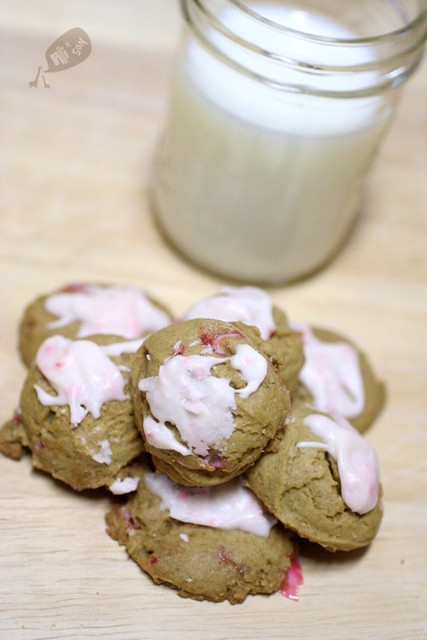 Iced Peppermint Molasses Cookies