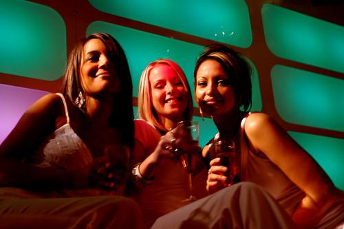 Three women in a club