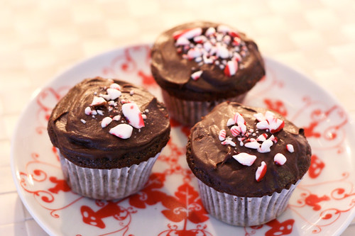 Double Chocolate Chip Candy Cane Cupcakes - Gluten-free and Dairy-Free