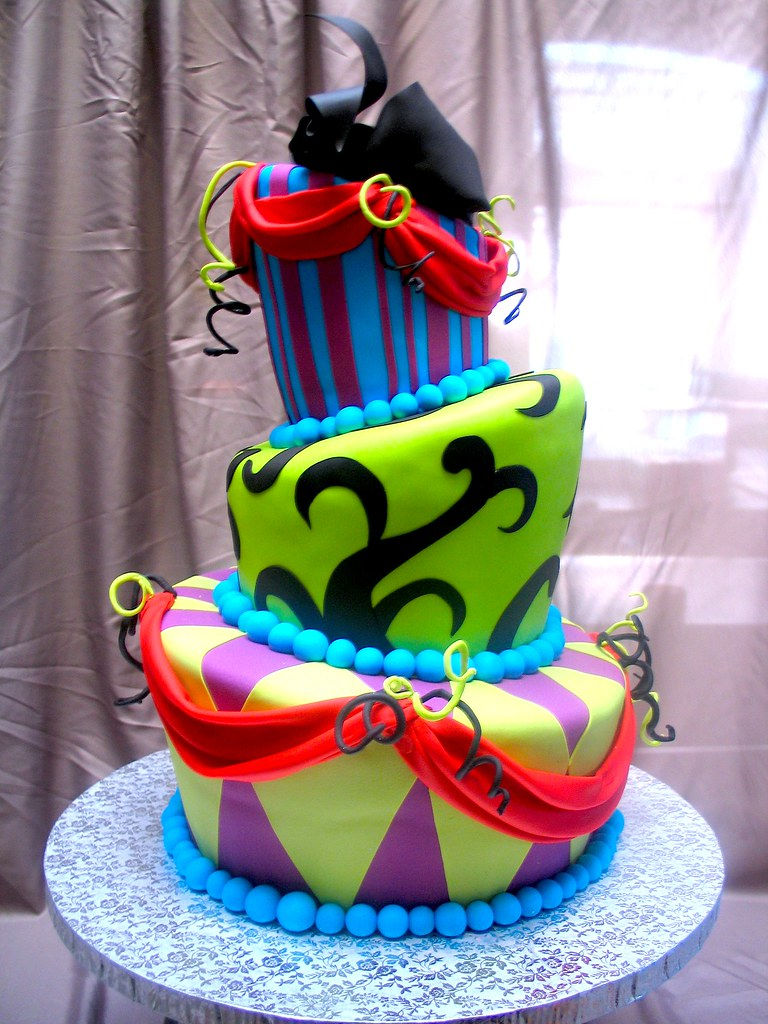 3 Tier Wicked Chocolate Topsy Turvy Mad Hatter Cake