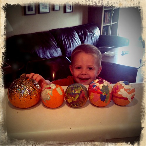Billy shows off our decorated pumpkin Autumn display