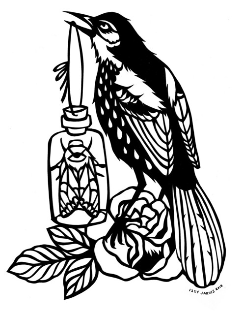 brown thrasher coloring page - brown thrasher paper cut out by izzygator flickr