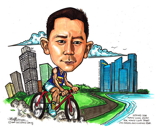cyclist caricature for Ang & Partners
