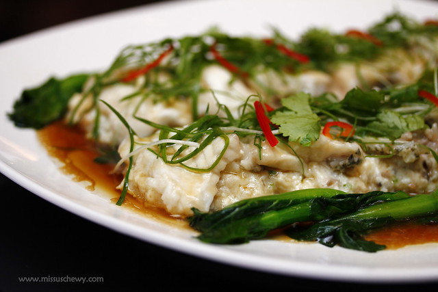 Steamed garoupa fillet with beancurd in light soya sauce