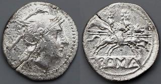 45/1 anonymous Denarius fully incuse. Roma splayed visor, Dioscuri, fully incuse legend, THE FIRST ROMAN DENARIUS 214BC. Exceedingly rare. AM#11123-35, 20mm, 3g53
