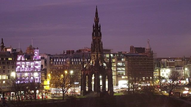 Scott Monument and Princes Street, just after sunset 01