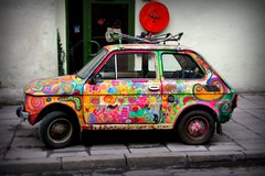 A car with unique artwork in the equally unique Kazimierz