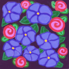 Pixel Posies (Roses and Violets) by randubnick