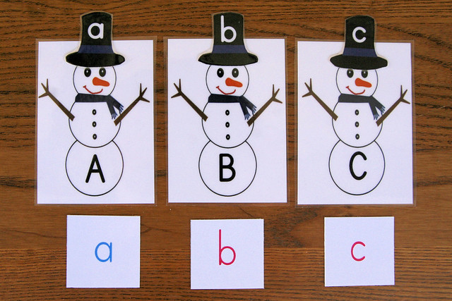 ABC Letter Snowmen with Movable alphabet