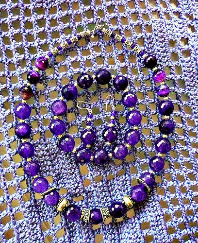 Amethyst necklace, bracelet and earrings