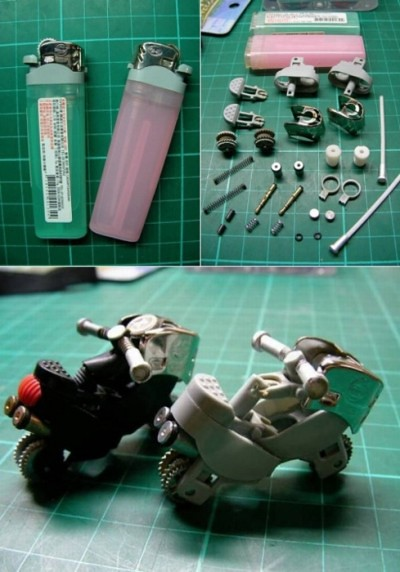 toy motorcycle made from disposable lighter