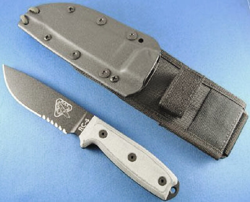 "ESEE Knives ESEE-4 Knife 4.5"" Black Combo Blade, Grey Micarta Handles, Black Sheath, MOLLE Locks, MOLLE Back"