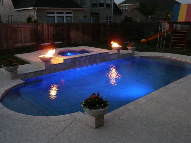 pulliam pools pool and spa combo with fire bowls