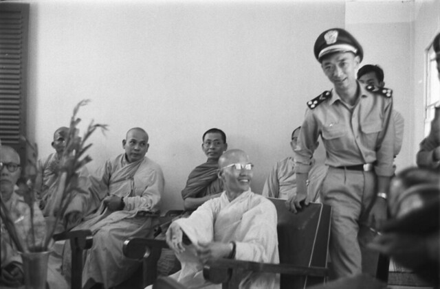 F69-24[1] Buddhist monks received by Vietnamese Airforce, head monk Tam Chau and AF Dep. Commander Nguyen Ngoc Loan 9 1 65