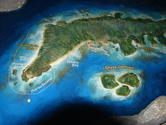 relief map of Roatan Island