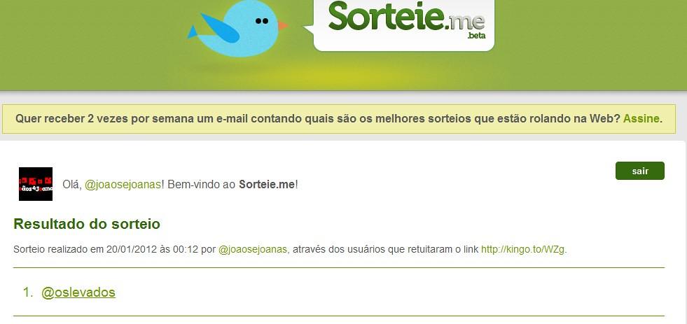 Sorteio - Twitter