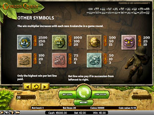 free Gonzo's Quest slot payout