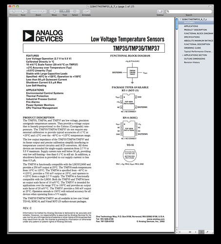 Analog Devices TMP36 Data Sheet Title Page