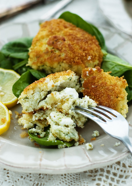 fish cakes & goat's cheese
