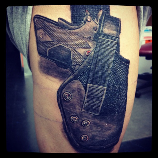 Gun and holster tattoo i started yesterday on thigh i for Gun holster tattoo