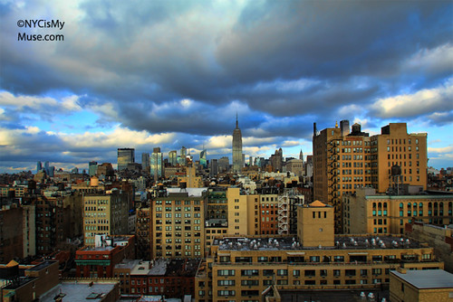 Empire State Building, NYC skyline and the wild afternoon skies #2